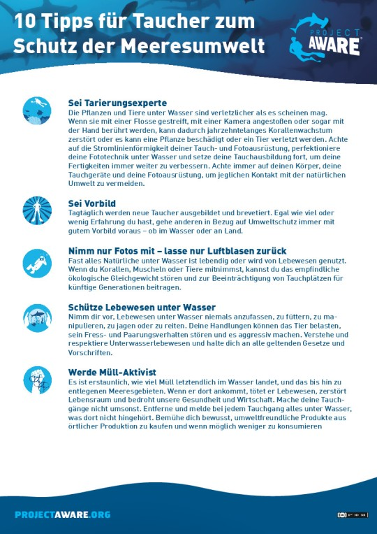 Deutsch - A4 - Ten Tips for Divers To Protect the Ocean Planet
